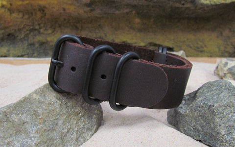 The Deputy Z5™ Leather Ballistic Nylon Strap w/ PVD Hardware (Stitched) 20mm
