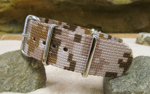 The Desert Ambush NATO Strap w/ Polished Hardware (Stitched) 20mm