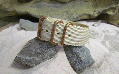 The Desert Dweller Z3™ Ballistic Nylon Strap w/ BRONZE Hardware (Stitched) 20mm