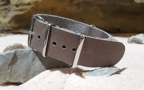 The Desperado Leather NATO Strap w/ Polished Hardware (Stitched) 22mm
