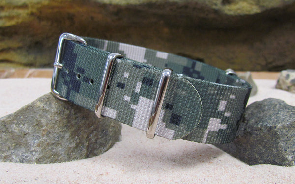 The Digital Stealth XII Ballistic Nylon Strap w/ Polished Hardware (Stitched) 20mm