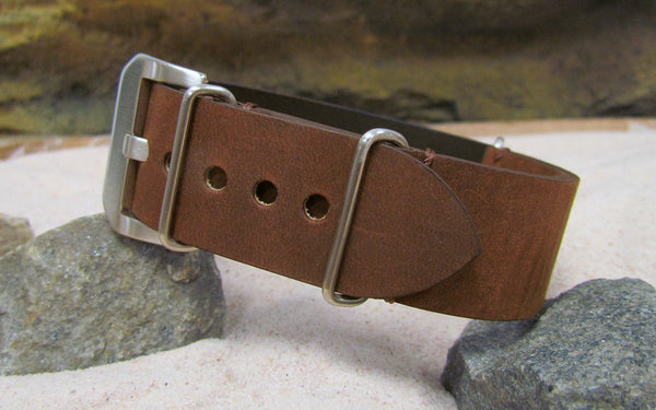 The Distressed Brown Loco Horse Genuine Vintage Leather Nato Strap w/ Brushed Pre-V Buckle Hardware (Stitched) 24mm