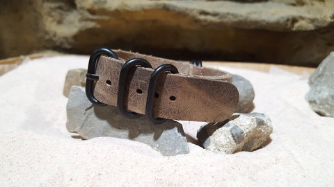 The Distressed Admiral Z5™ Leather Nato Strap w/ PVD Hardware (Stitched) 20mm