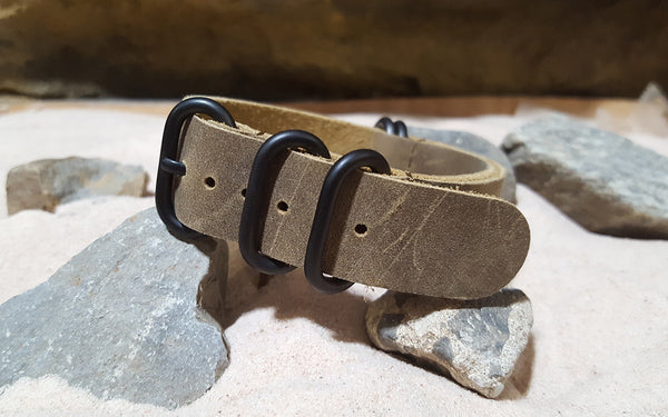 The Distressed Pyrite Z5™ Leather Nato Strap w/ PVD Hardware (Stitched) 20mm