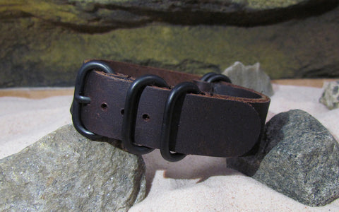 The El Dorado Z5™ Leather Ballistic Nylon Strap w/ PVD Hardware (Stitched) 20mm