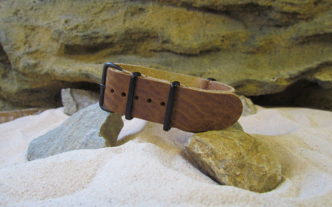 The Erebus Leather Ballistic Strap w/ PVD Hardware (Stitched) 18mm
