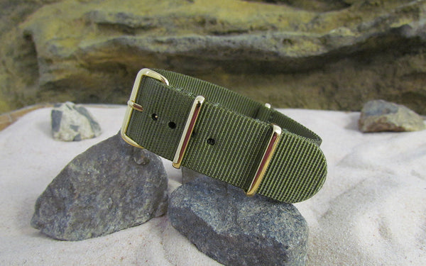 The Brigade Ballistic Nylon Strap w/ Gold Hardware (Stitched) 18mm