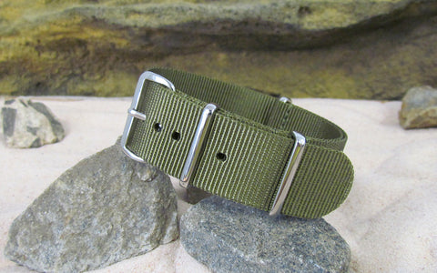 The Brigade XII Nato Strap w/ Polished Hardware (Stitched) 22mm