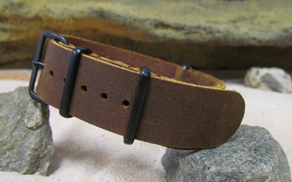 The Gad Leather Nato Strap w/ PVD Hardware (Stitched) 18mm