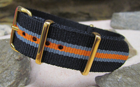 The Gamma Ballistic Nylon Strap w/ Gold Hardware (Stitched) 18mm