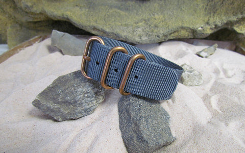The Gray Matter Z3™ Ballistic Nylon Strap w/ BRONZE Hardware (Stitched) 22mm