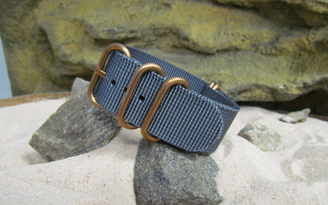 The Gray Matter Z5™ Ballistic Nylon Strap w/ BRONZE Hardware (Stitched) 22mm