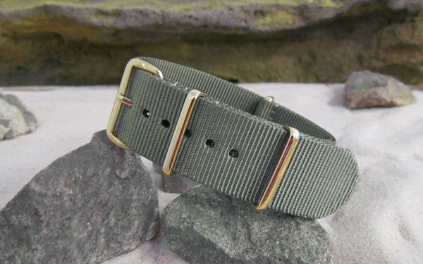 The Destroyer Nato Strap w/ Gold Hardware (Stitched) 22mm