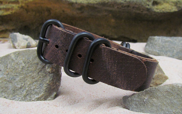 The Historic Grain Z5™ Leather Nato Strap w/ PVD Hardware (Stitched) 18mm