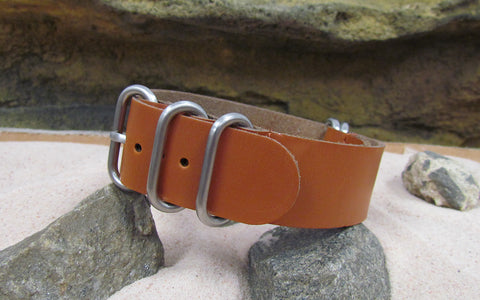 The Holster Z5™ Leather Nato Strap w/ Brushed Hardware (Stitched) 22mm