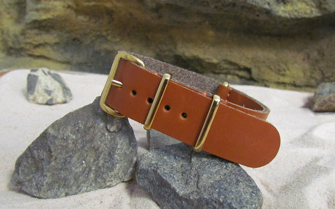 The Holster Leather Nato Strap w/ Gold Hardware (Stitched) 20mm