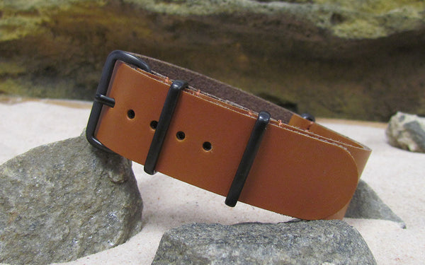 The Holster Leather Nato Strap w/ PVD Hardware (Stitched) 22mm