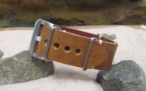 The Honey Genuine Italian Leather Ballistic Strap w/ Brushed Pre-V Buckle Hardware (Stitched) 20mm