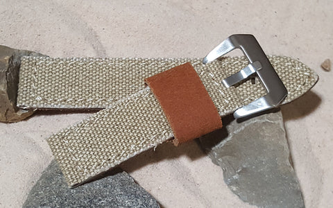 The Khaki Military Style Canvas Watch Strap with Brushed Pre-V Buckle Hardware (Stitched) 26mm