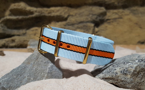 The Le Mans II Ballistic Nylon Strap w/ Gold Hardware 18mm
