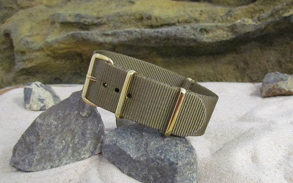 The Cadet Nato Strap w/ Gold Hardware (Stitched) 18mm