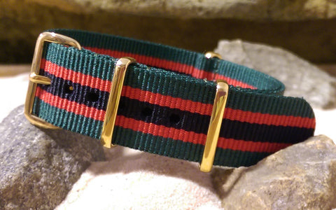 NEW ITEM - The Lumberjack Nato Strap w/ Gold Hardware 22mm