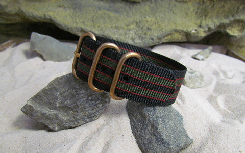 The MI6 Bond Z3™ Ballistic Nylon Strap w/ BRONZE Hardware (Stitched) 24mm