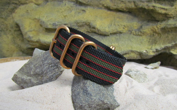 The MI6 Bond Z5™ Ballistic Nylon Strap w/ BRONZE Hardware (Stitched) 20mm