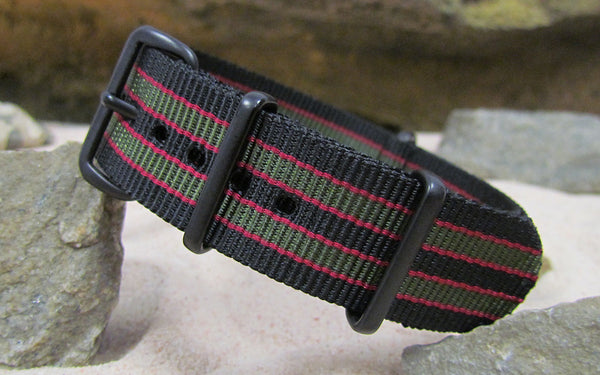 The MI6 Bond NATO Strap w/ PVD Hardware (Stitched) 22mm