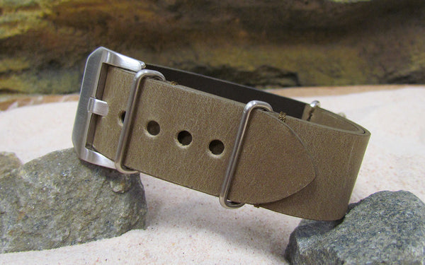 The Moss Loco Horse Genuine Vintage Leather Ballistic Strap w/ Brushed Pre-V Buckle Hardware (Stitched) 26mm