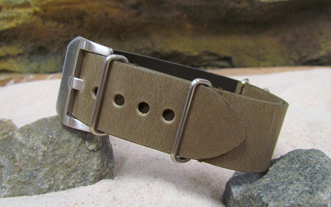 The Moss Loco Horse Genuine Vintage Leather Nato Strap w/ Brushed Pre-V Buckle Hardware (Stitched) 22mm