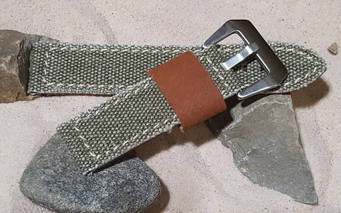 The Olive Military Style Canvas Watch Strap with Brushed Pre-V Buckle Hardware (Stitched) 24mm