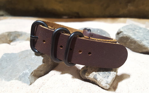 The Outlaw Z5™ Leather Nato Strap w/ PVD Hardware (Stitched) 20mm