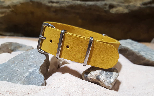 The Pyrite Leather NATO Strap w/ Polished Hardware (Stitched) 20mm