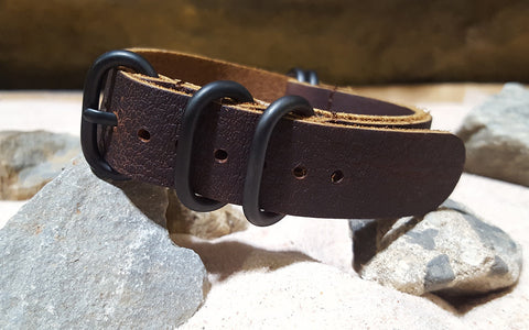 The Rancher Z5™ Leather Nato Strap w/ PVD Hardware (Stitched) 18mm