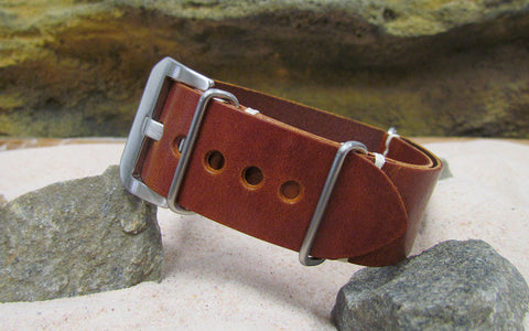 The Red Oak Genuine Italian Leather Nato Strap w/ Brushed Pre-V Buckle Hardware (Stitched) 24mm