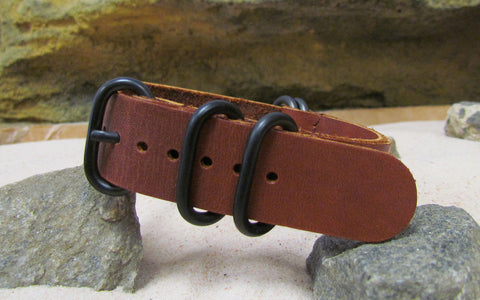 The Rosette Z5™ Leather Nato Strap w/ PVD Hardware (Stitched) 18mm