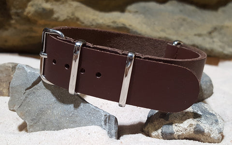 The Rustic Leather NATO Strap w/ Polished Hardware (Stitched) 20mm