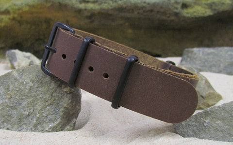 The Saddle Leather NATO Strap w/ PVD Hardware (Stitched) 18mm