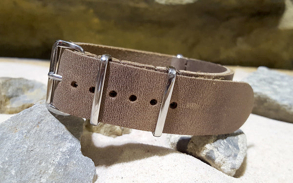 The Sand Dune Leather NATO Strap w/ Polished Hardware (Stitched) 22mm