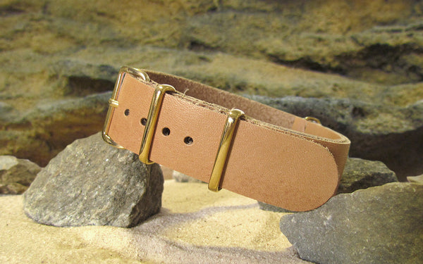 The Sandstorm Leather NATO Strap w/ Gold Hardware (Stitched) 20mm