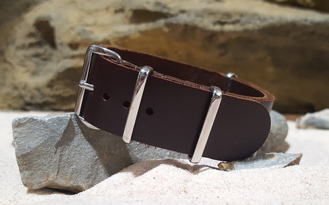 The Sheriff Leather NATO Strap w/ Polished Hardware (Stitched) 18mm
