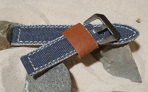 The Slate Blue Military Style Canvas Watch Strap with Brushed Pre-V Buckle Hardware (Stitched) 26mm