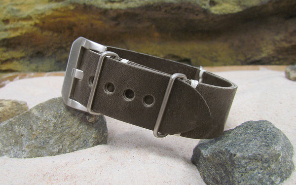 The Slate Genuine Italian Leather Ballistic Strap w/ Brushed Pre-V Buckle Hardware (Stitched) 26mm