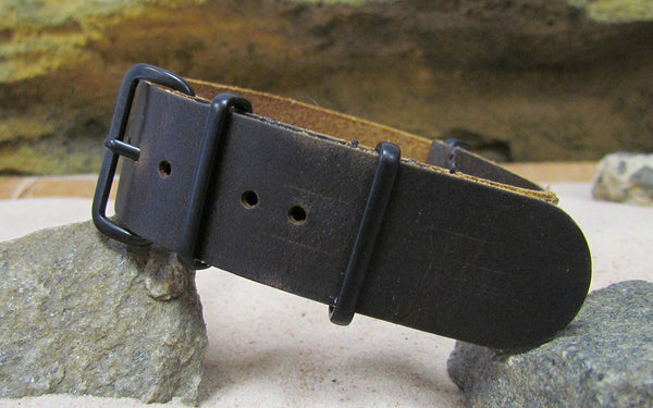 The Stagecoach II Leather Nato Strap w/ PVD Hardware (Stitched) 18mm