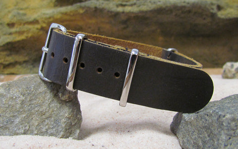 The Stagecoach II Leather Nato Strap w/ Polished Hardware (Stitched) 18mm