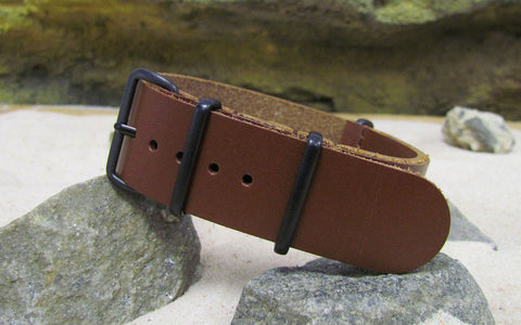 The Stagecoach Leather Nato Strap w/ PVD Hardware (Stitched) 18mm