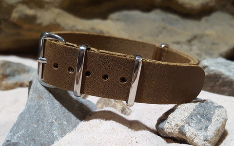 The Yearling Leather Nato w/ Polished Hardware (Stitched) 18mm