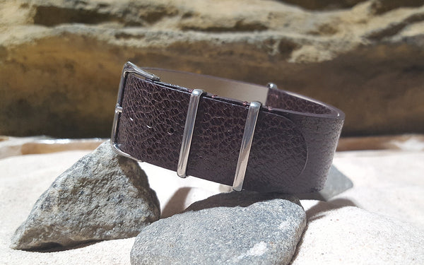 The Maroon Classic Grain Leather Nato Strap w/ Polished Hardware (Stitched) 20mm