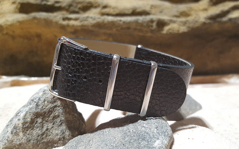The Black Classic Grain LeatherNATO Strap w/ Polished Hardware (Stitched) 22mm
